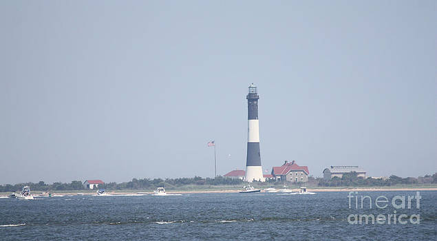 JOHN TELFER - Fire Island Lighthouse With Boats Wading In Front Of It #1 of 4