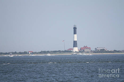 JOHN TELFER - Fire Island Lighthouse with Signal Light Showing and Boats Wading #4 of 4