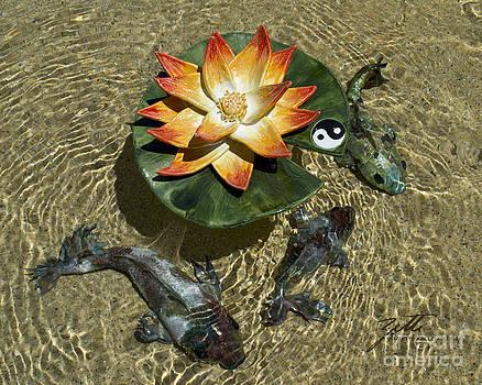 Fire Lotus with Dragon Koi by Suzette Kallen