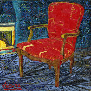 Fireplace and Red Chair by Adelita Pandini