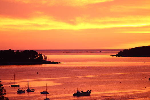 Fire Sunrise over Southwest Harbor by Dana Moos