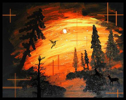Fire Sunset Over River by Andrew Sliwinski