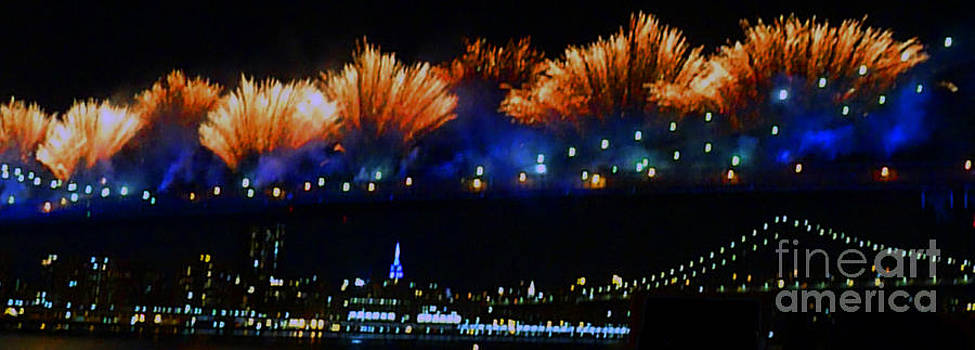 Fireworks On The Brooklyn Bridge by Kendall Eutemey