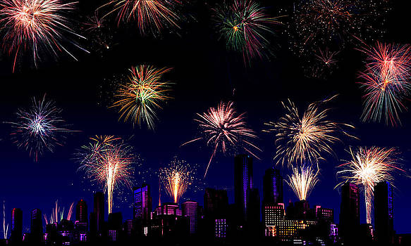 Jo Ann Snover - Fireworks over a city