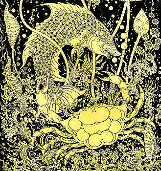 Fish and Crab images artistic from Thai painting and literature by Pakorn Kitpaiboolwat