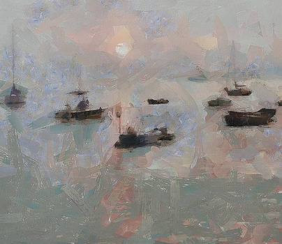Yury Malkov - Fish Boats at Lamma Island Sunset