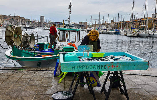 Fish market in Marseille Harbor by Dany Lison
