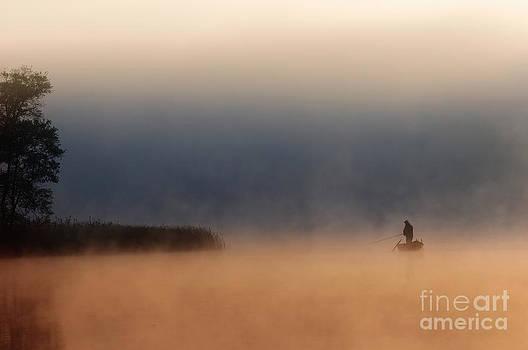 Fisher in fog by Arletta Cwalina