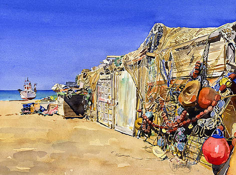 Fishermen's huts at San Miguel by Margaret Merry