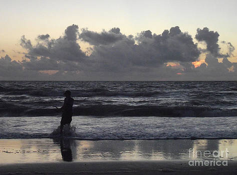 Fishing at Dawn on Cocoa Beach by Virginia Zuelsdorf