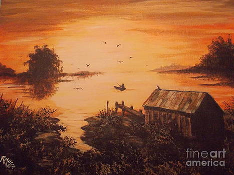 Fishing At Dawn by Rita Miller