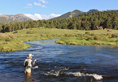 Fishing at RMNP Colorado by James Gordon Patterson