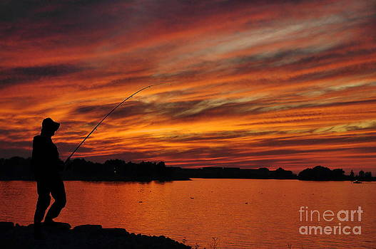 Andrea Kollo - Fishing at Sunset No. One