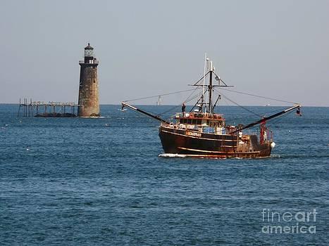 Christine Stack - Fishing Boat Passing Ram Island Lighthouse