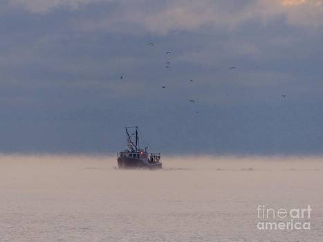 Christine Stack - Fishing Boat With Sea Smoke  on Casco Bay Maine