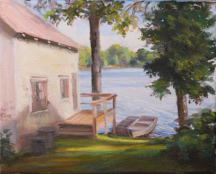 Fishing Cabin on the Lake by Michele Tokach