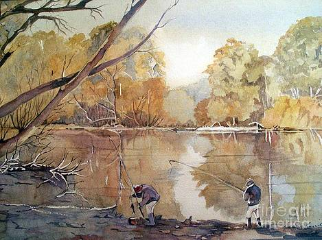Fishing on the Goulburn River Victoria  by Audrey Russill