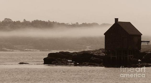 Christine Stack - Fishing Shack in the Fog on Willard Beach South Portland Maine