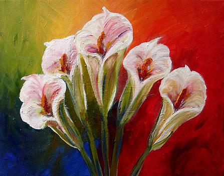 Mary Jo Zorad - Five Cala Lillies print