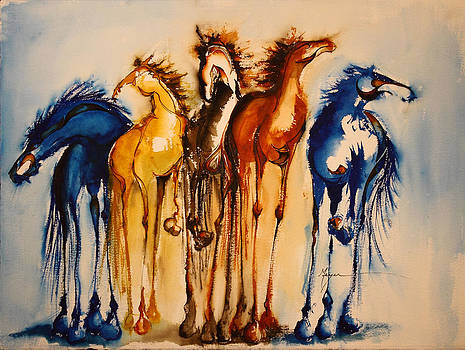 Five Painted Horses by Terry Meyer