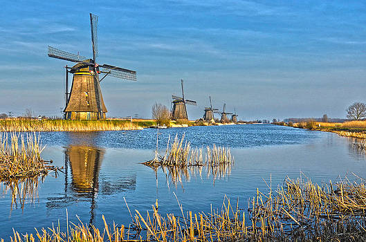 Five Windmills At Kinderdijk by Frans Blok