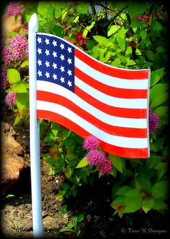 Flag in Garden by Terri K Designs
