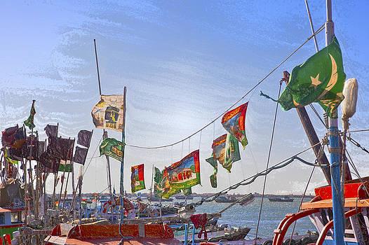 Kantilal Patel - Flag waving boats at Bet Dwarka