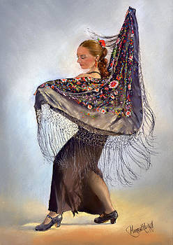 Flamenco dancer with shawl by Margaret Merry
