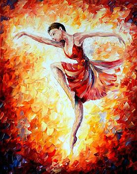 Flaming Dance - PALETTE KNIFE Oil Painting On Canvas By Leonid Afremov by Leonid Afremov