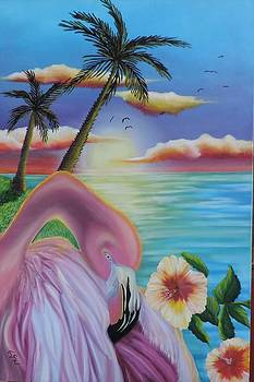 Flamingo Sunset by Dianna Lewis