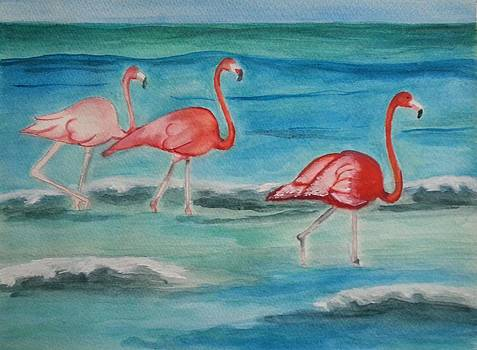 Flamingos in the Surf by Lynette Clayton