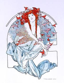 Oh To Fly   after Mucha by Tony Ruggiero