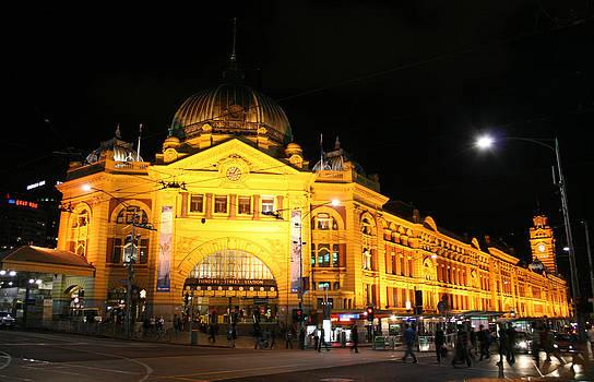 Flinders Street Station by Night by Carl Koenig
