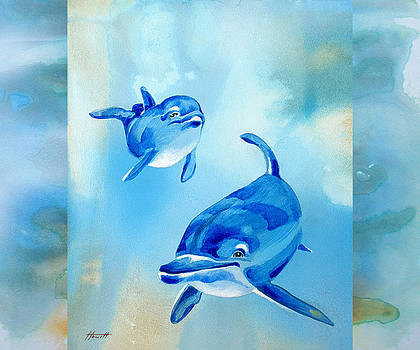 Floating Free - Dolphin Mother and Baby by Patricia Howitt