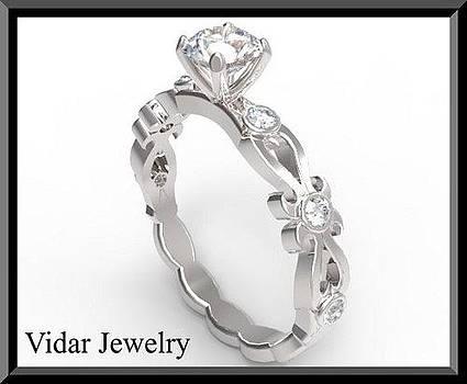 Floral Diamond 14k White Gold Engagement Ring by Roi Avidar