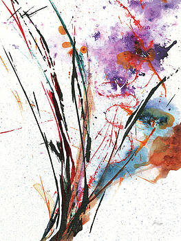 Floral Explosion Iv On White by Jan Griggs