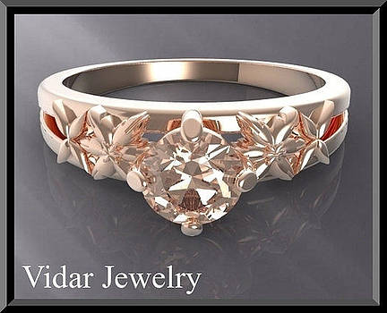 Floral Pink Morganite Solitaire 14k Rose Gold Engagement Ring by Roi Avidar