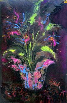 FLORAL SHOP PLANT WITH FLOWERS on Patterened Velvet by Josie Taglienti