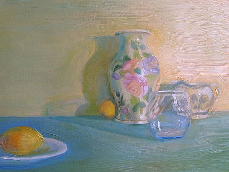 Floral Vase With Two Lemons by Laura Skoglund