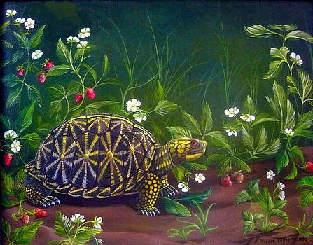 Florida Box Turtle and Strawberry Patch by Vivian Eagleson
