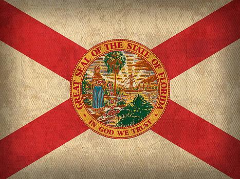 Design Turnpike - Florida State Flag Art on Worn Canvas