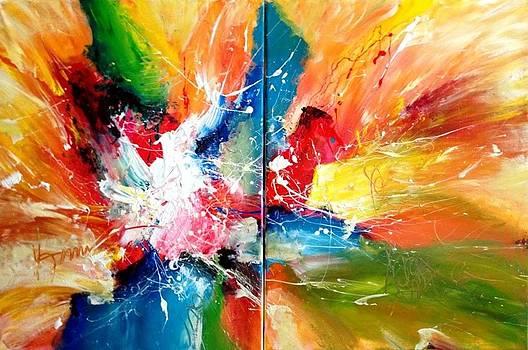 FLORISHING LOVE 80x120cm or 32x48in acrylics on canvas by Dan Bunea
