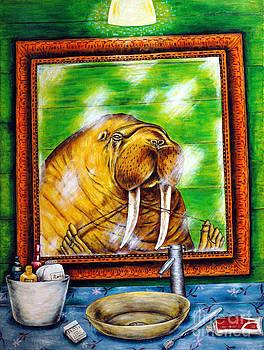 Flossing in the Bathroom by Jay  Schmetz