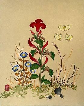 Flower And Butterflies by Minhwa Art