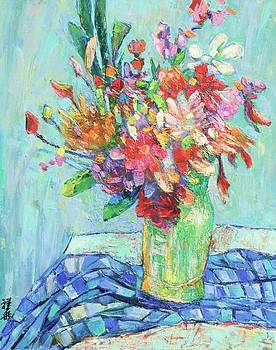 Flower bouquet on patterned cloth by Siang Hua Wang
