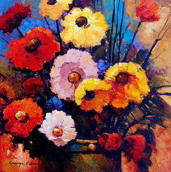 Flower bucket - colorful red yellow and pink flowers. by Kanayo Ede