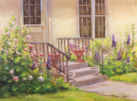 Flower Garden in Back of Cottage House by Michele Tokach