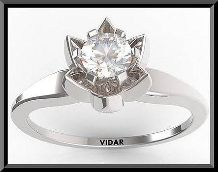 Flower Round Diamond 14k White Gold Engagement Ring by Roi Avidar