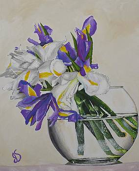 Flower Vase with Iris by Joyce Sherwin