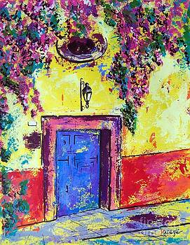 Flowers at the blue door  by Cristiana Marinescu